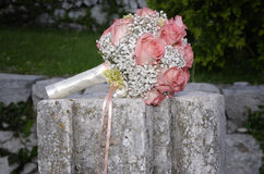 Pink roses wedding bouquet Stock Images