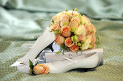 Pink roses wedding bouquet Royalty Free Stock Image