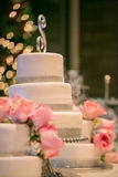 Pink Roses on a wedding cake Royalty Free Stock Photo