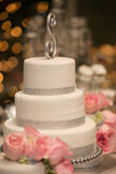 Pink Roses on a wedding cake Stock Photo