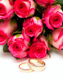 Pink roses and wedding rings isolated on white Royalty Free Stock Photo