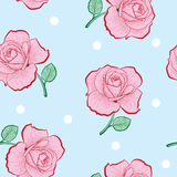 Pink roses and white dots seamless pattern Royalty Free Stock Photo