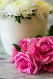 Pink Roses and White Flowers Royalty Free Stock Photo