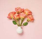 Pink roses in white vase Royalty Free Stock Image