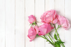 Pink roses on wood Stock Photos