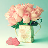 Pink Roses and Wood Hearts Royalty Free Stock Images