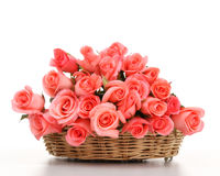 Pink roses in wooden basket Stock Photography