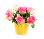 Pink roses in a yellow vase Royalty Free Stock Photos