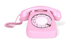 Pink Rotary Phone isolated Royalty Free Stock Photos