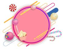 Pink round background with color lollipops and canes. royalty free illustration