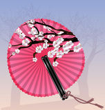 Pink round fan and blossom Royalty Free Stock Image