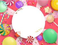 Pink round festive background with colorful sweets. White round festive frame with bright colorful lollipops, balloons and serpentine on pink background. Vector vector illustration