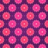 Pink Round Flower on Dark Violet Seamless Pattern Stock Image