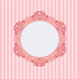 Pink round frame. Vector  illustration of a pink round frame in striped background Stock Images