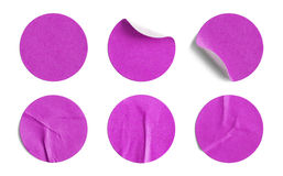 Pink Round Stickers. Blank Circle Retail Tags Isolated on a White Background Stock Photos