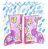 Pink rubber boots Stock Photos