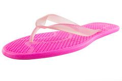 Pink Rubber flip-flops isolated Stock Images