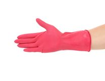 Pink rubber glove. Royalty Free Stock Photography
