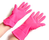 Pink rubber gloves Royalty Free Stock Image