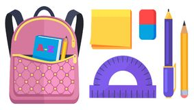 Pink Rucksack with Pocket on Back with ABC Book. Pink rucksack with big pocket on back with ABC book inside, pencil and pen with ruler and notepaper nearby Stock Images