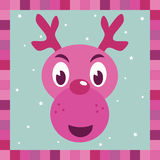 Pink rudolph reindeer decoration. Pink and purple reindeer decoration card Royalty Free Stock Image