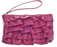 Pink Ruffled Clutch Purse Stock Images