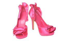 Pink ruffled satin heels Stock Photography