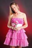 Pink ruffles. Blond woman in pink ruffles Royalty Free Stock Photo