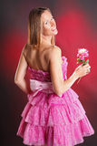 Pink ruffles. Blond woman in pink ruffles Stock Images