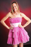 Pink ruffles. Blond woman in pink ruffles Stock Photography