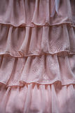 Pink Ruffles Detail. This is a close up photo of sheer pink ruffles from a vintage twenties dress Royalty Free Stock Photo