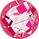 Pink rulers, pencils, crayons, paper clips, paper Royalty Free Stock Photography