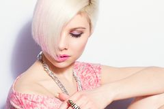 Pink 80s Fashion Style Girl royalty free stock photos