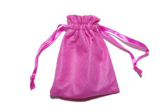 Pink sack for gifts. Pink sack for gifts isolated on white background Royalty Free Stock Image
