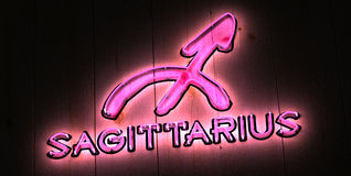Zodiac Sagittarius Neon Sign Pink Light Stock Photo