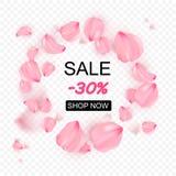 Pink sakura falling petals in circle vector background. 3D romantic illustration stock illustration