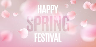Pink sakura petals falling background. Pink sakura falling petals vector background. 3D romantic illustration with Happy Spring Festival text royalty free illustration
