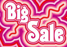 Pink sale poster. Big Sale inscription in retro style by pink colors, illustration additional vector illustration