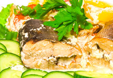 Pink salmon baked with vegetables and greens Stock Image