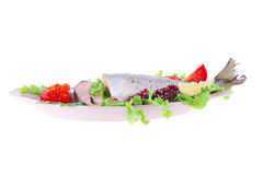 Pink salmon on plate Stock Photos