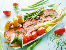 Pink salmon steaks Royalty Free Stock Image