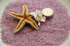 Pink salt. A starfish, a flower, and a candle on pink salt crystals Royalty Free Stock Images