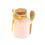 Pink salt bath in the bottle with wooden spoon Stock Photos
