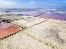 The pink salt filed. In Walvis Bay, Namibia stock photos