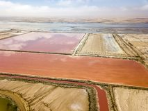 The pink salt filed. In Walvis Bay, Namibia stock images