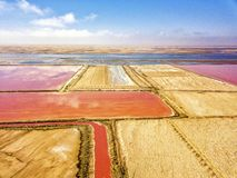 The pink salt filed. In Walvis Bay, Namibia stock photo