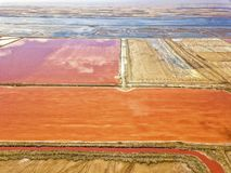 The pink salt filed. In Walvis Bay, Namibia stock image