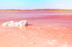 Pink Salt Lake and a lump of salt in the water. Torrevieja, Spain Royalty Free Stock Photos