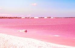 Pink Salt lake. Spain, Torrevieja Royalty Free Stock Photography