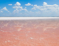 Pink salt lake, where salt is mined for food. Royalty Free Stock Photo